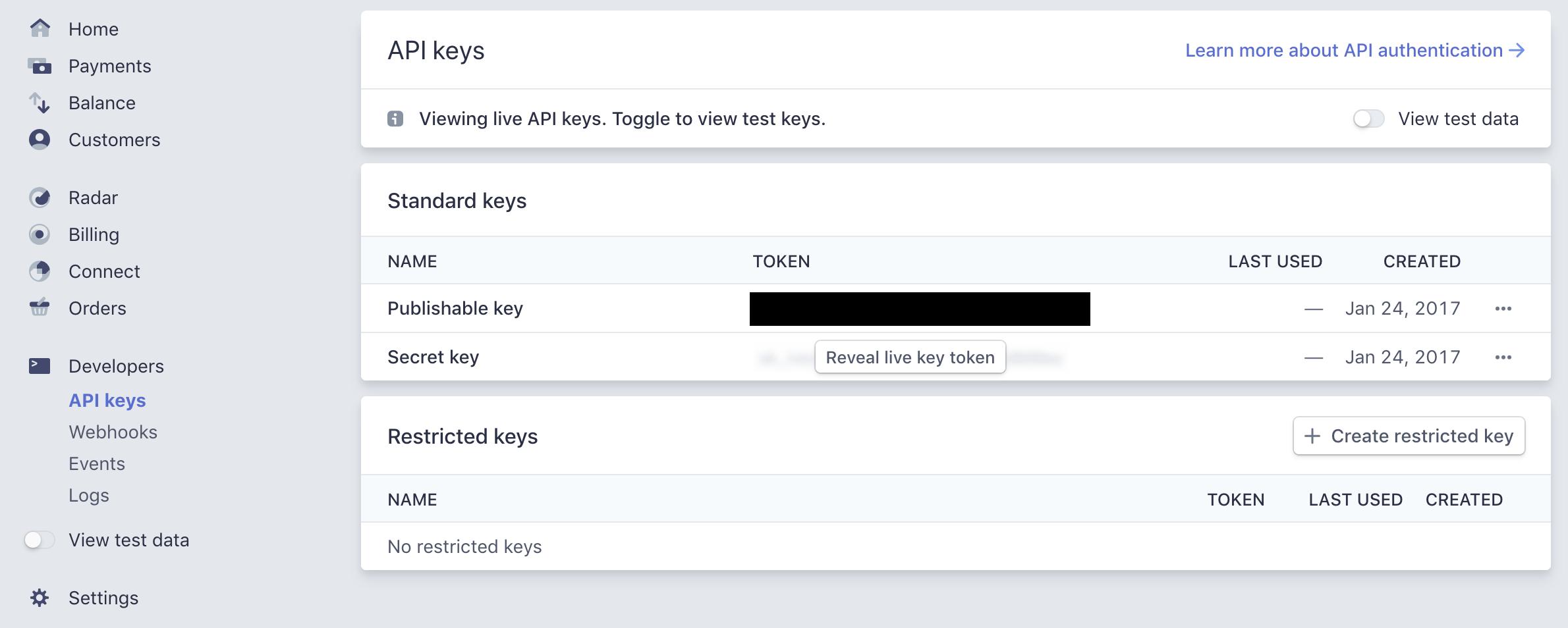 Locate API Keys in the Dashboard : Stripe: Help & Support